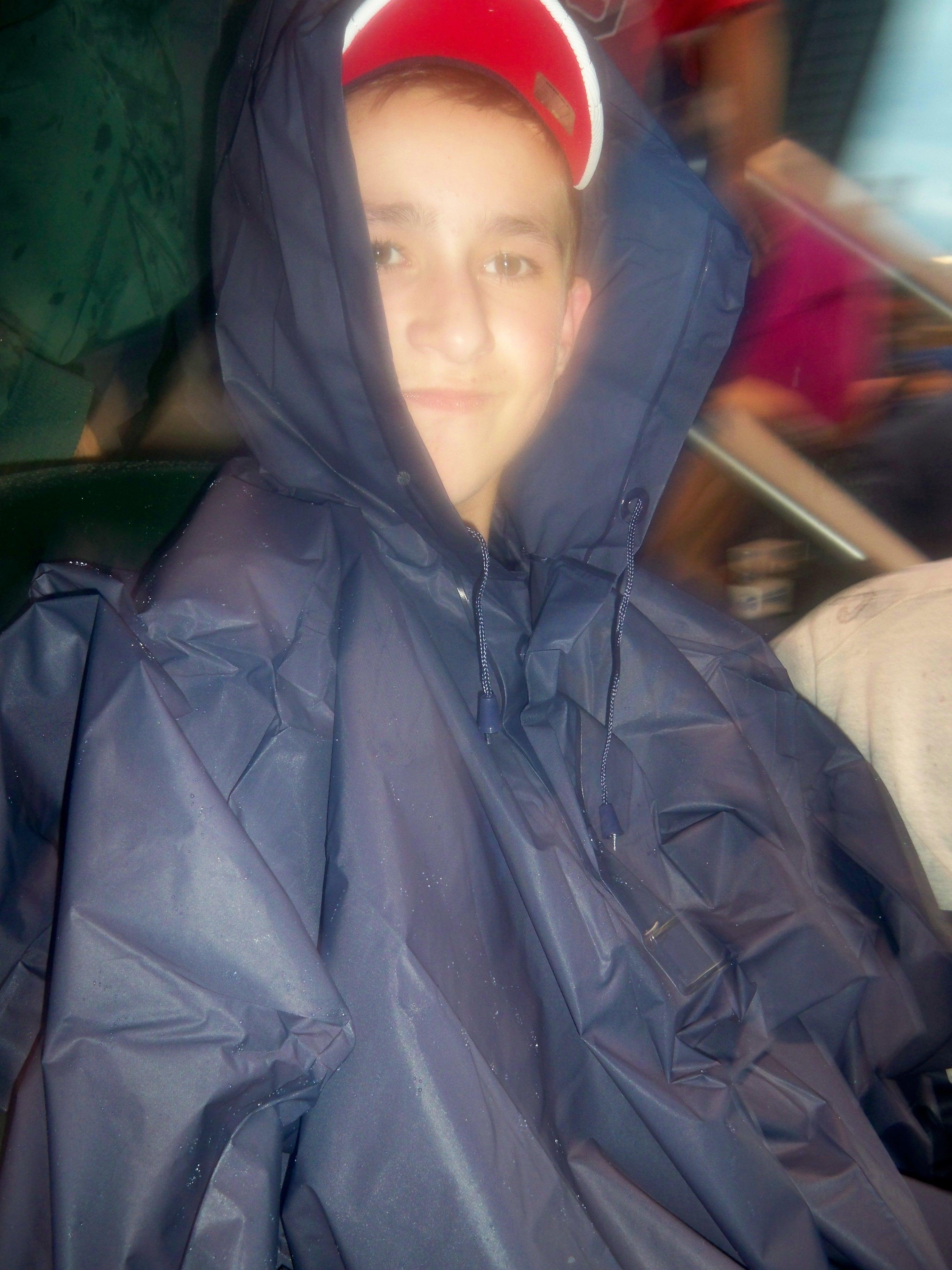 Cody in poncho